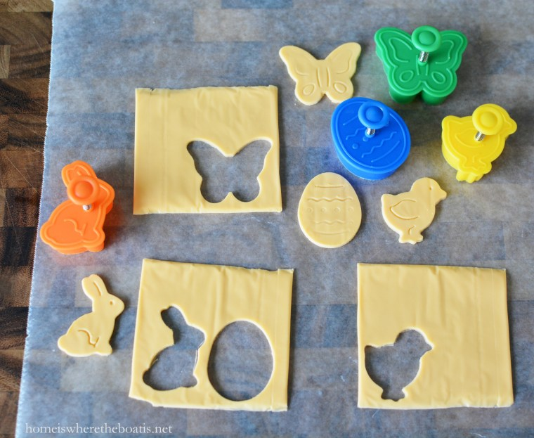 Cookie stamps used for cheese and Layered Spring Salad! | ©homeiswheretheboatis.net #Easter