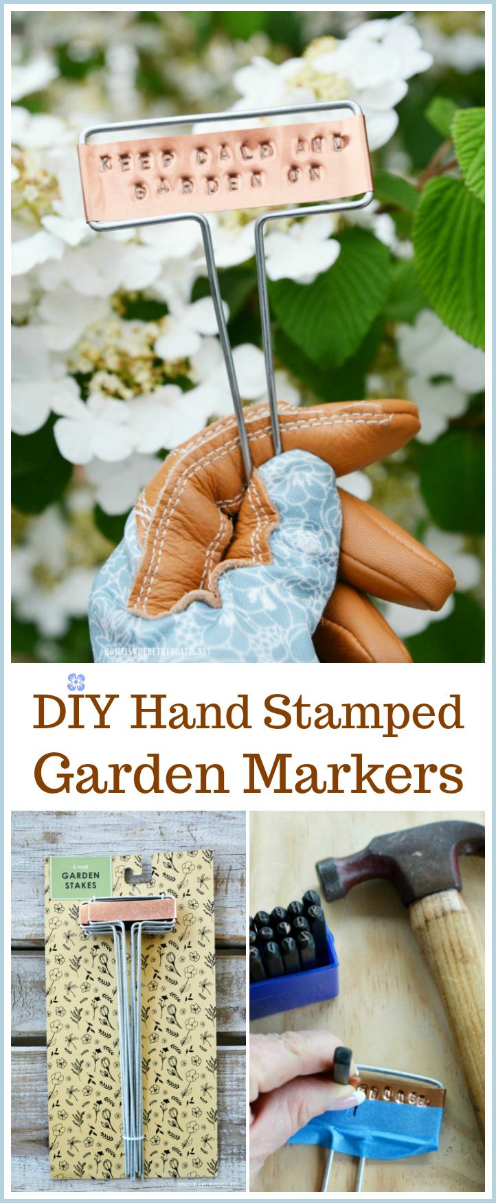 DIY Hand Stamped Copper Garden Markers | ©homeiswheretheboatis.net #garden #spring #DIY