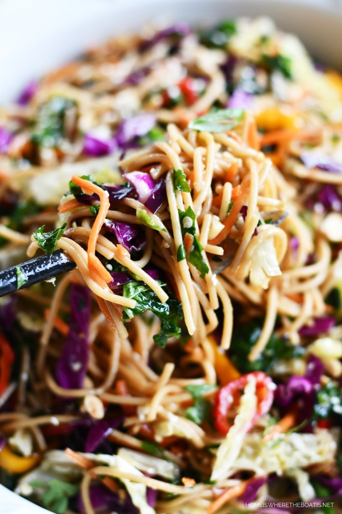 Asian Noodle Salad | ©homeiswheretheboatis.net #noodles #recipe #healthy