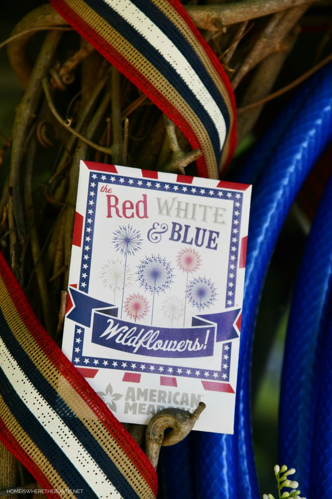 Red, White and Blue Wildflower Seeds | ©homeiswheretheboatis.net #patriotic #wreath #DIY