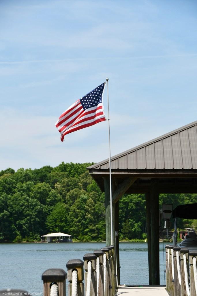 American Flag on dock | ©homeiswheretheboatis.net #flag #memorialday #lake