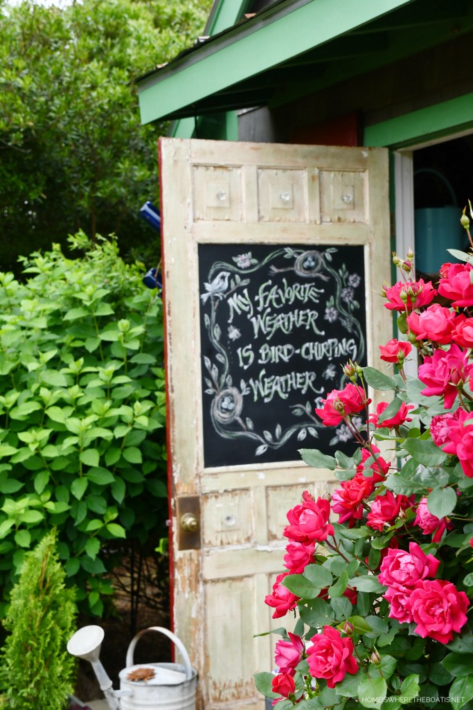 Bird Chirping Weather chalkboard door Potting Shed | ©homeiswheretheboatis.net #flowers #garden #chalkboard
