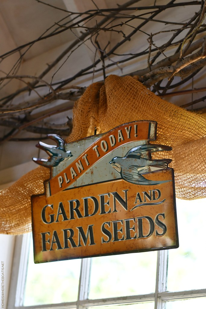 Garden and Farm Seeds Sign with birds in the Potting Shed | ©homeiswhetheboatis.net