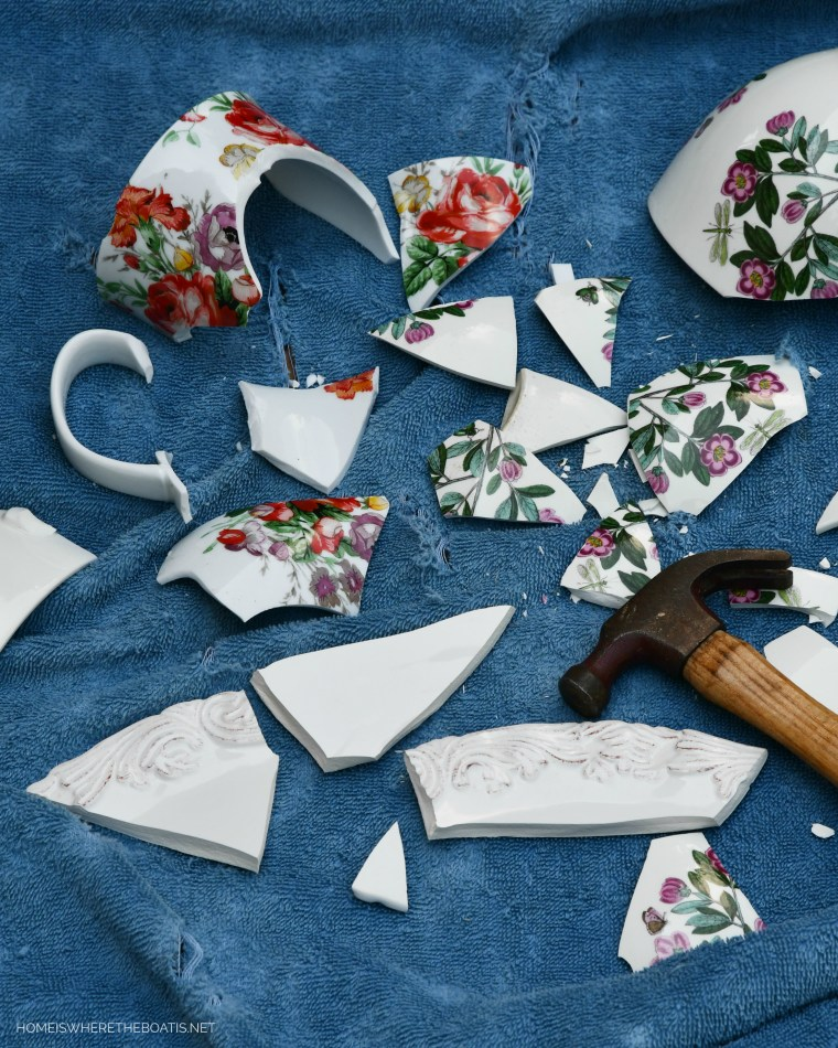 Broken dish shards for DIY Mosaic Flower Pots | ©homieswheretheboatis.net #flowers #garden #DIY #mosaic