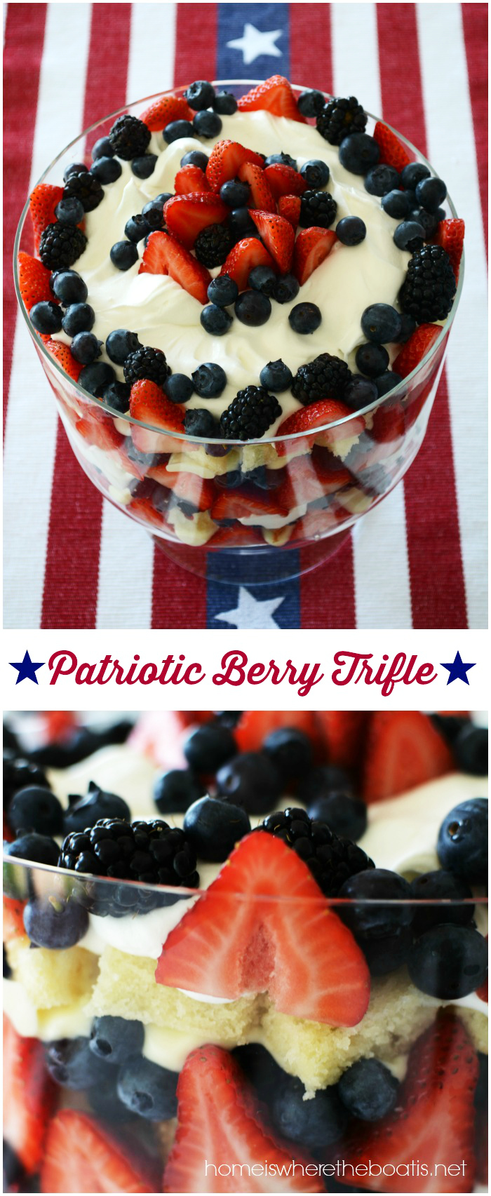 Patriotic Berry Trifle | ©homeiswheretheboatis.net #patriotic #desserts #easy #nobake #july4th