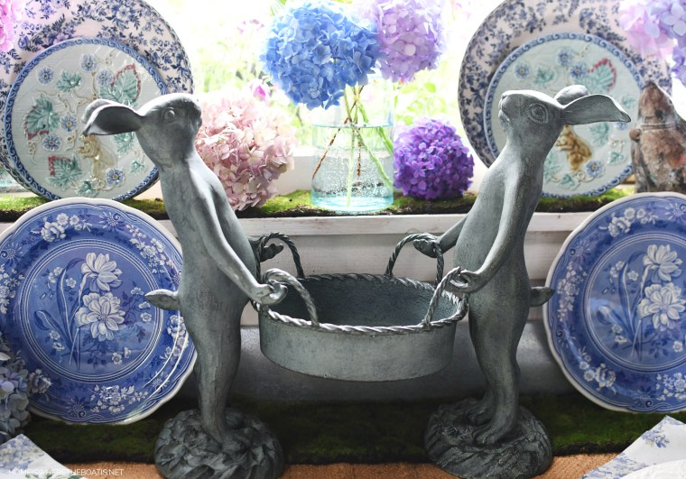 Gardener Bunnies with basket | ©homeiswheretheboatis.net #hydrangeas