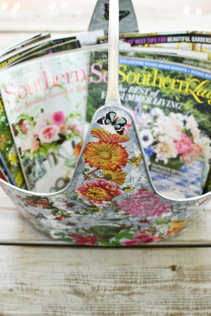 DIY Decoupage galvanized tub | ©homeiswheretheboatis.net #DIY #craft