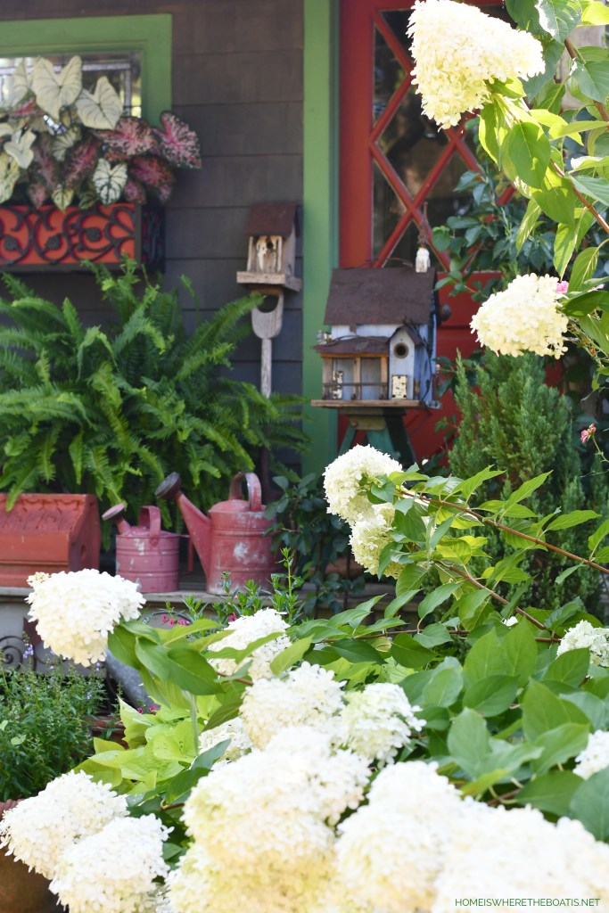 Birdhouse on porch of Potting Shed | ©homeiswheretheboatis.net #diy #repurpose #craft #birdhouse #garden #flowers #shed