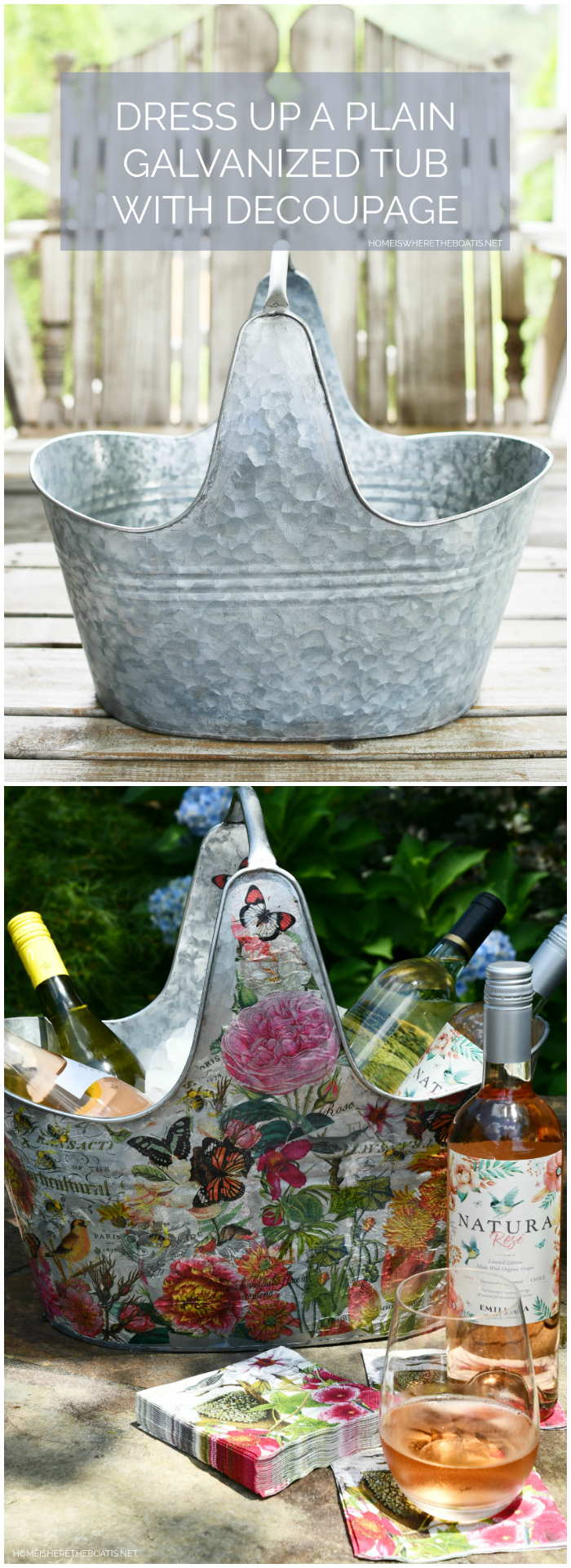 DIY Decoupage galvanized beverage tub | ©homeiswheretheboatis.net #DIY #craft