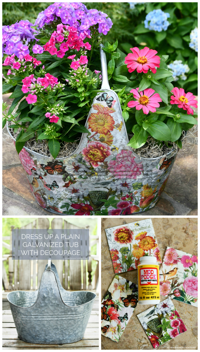 DIY Decoupage galvanized tub as a planter | ©homeiswheretheboatis.net #DIY #craft