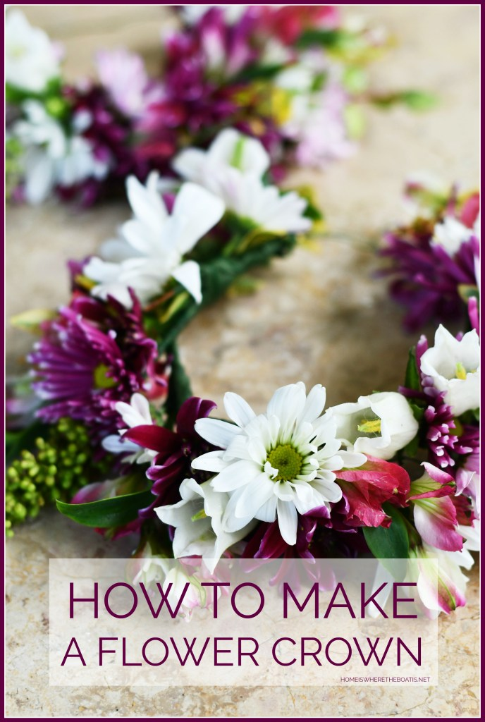 How to Make a Flower Crown | ©homeiswheretheboatis.net #flowerarranging #DIY #tips