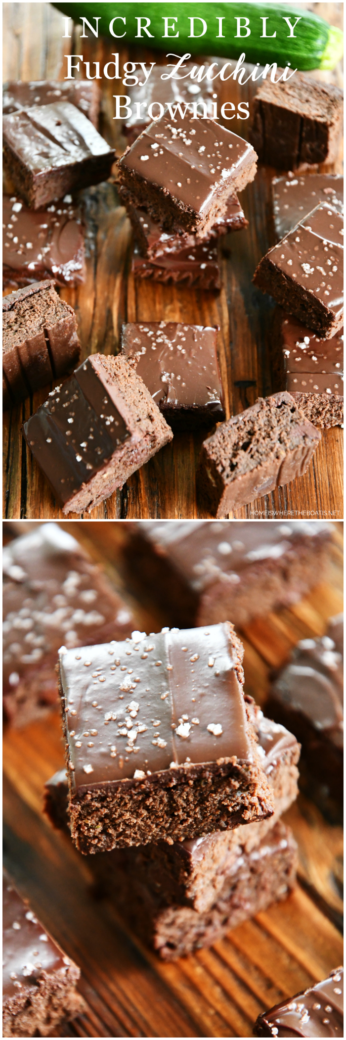 Incredibly Fudgy Zucchini Brownies | ©homeiswheretheboatis.net #brownies #recipes #zucchini