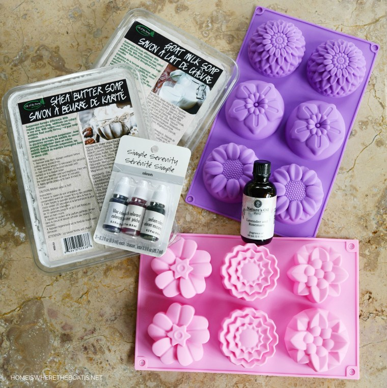 Easy DIY Flower Soap | ©homeiswheretheboatis.net #craft #DIY #flowers #soap #easy