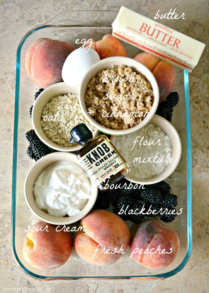 Peach-Blackberry Cobbler Bar Ingredients | ©homeiswheretheboatis.net #summer #dessert #peaches #bars