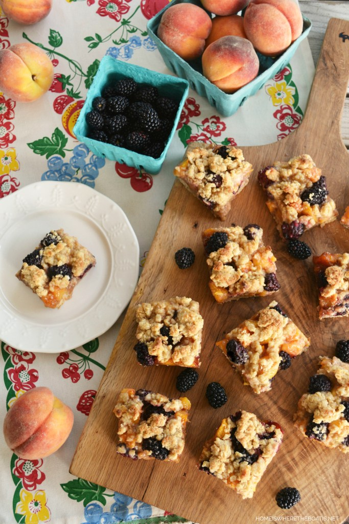 Peach-Blackberry Cobbler Bars | ©homeiswheretheboatis.net #summer #dessert #peaches #bars