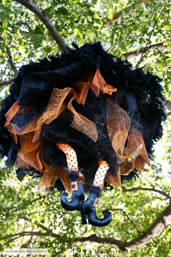 Floating Umbrella Witch DIY for Halloween | ©homeiswheretheboatis.net #Halloween #witch #DIY