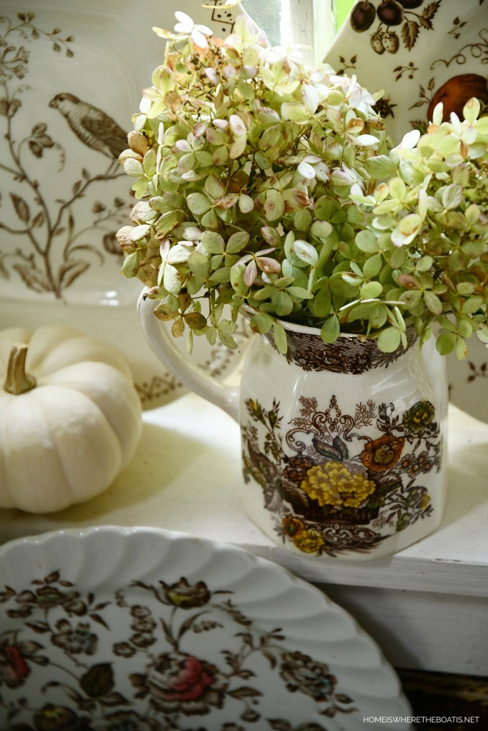 Fall Nesting with Transferware in the Potting Shed | ©homeiswheretheboatis.net #tablescapes #fall #transferware
