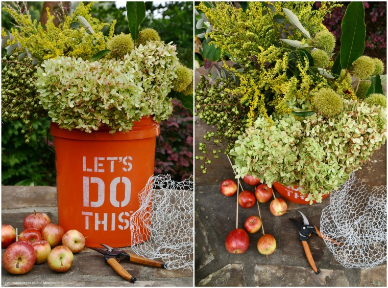 DIY Autumn Harvest Arrangement | ©homeiswheretheboatis.net #fall #hydrangeas #apples #pumpkins #centerpiece