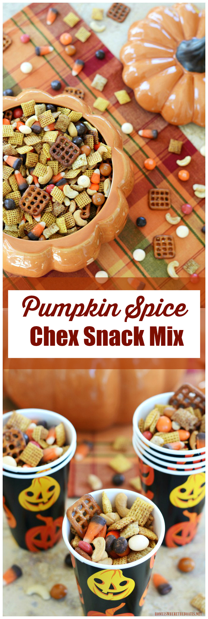 Pumpkin Spice Chex Snack Mix | ©homeiswheretheboatis.net #fall #snack #easy #chex #pumpkinspice #halloween