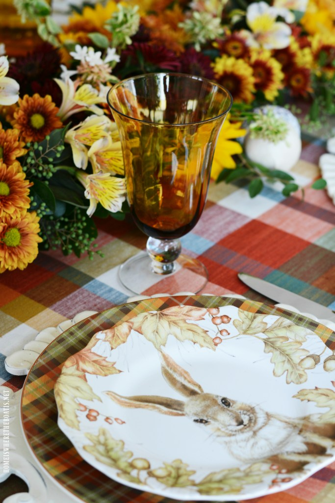 Woodland Friends Fall Table + DIY Floral Runner | ©homeiswheretheboatis.net #fall #tablescapes #plaid #DIY #flowers