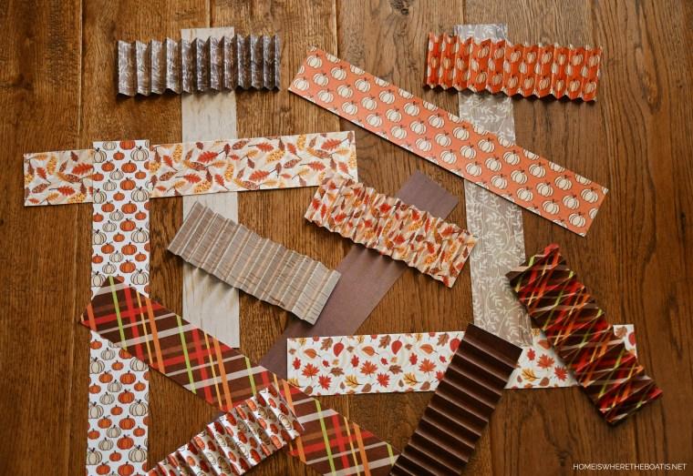 DIY Cone-ucopias for Thanksgiving | ©homeiswhertheboatis.net #DIY #craft #thanksgiving #scrapbookpaper