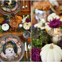 Whimsical Fall Table with DIY Pumpkin-Floral Runner