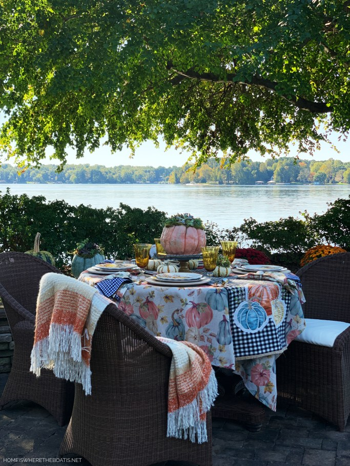 Lakeside Fall Table with Succulent topped Pumpkin | ©homeiswheretheboatis.net #fall #tablescapes #pumpkins