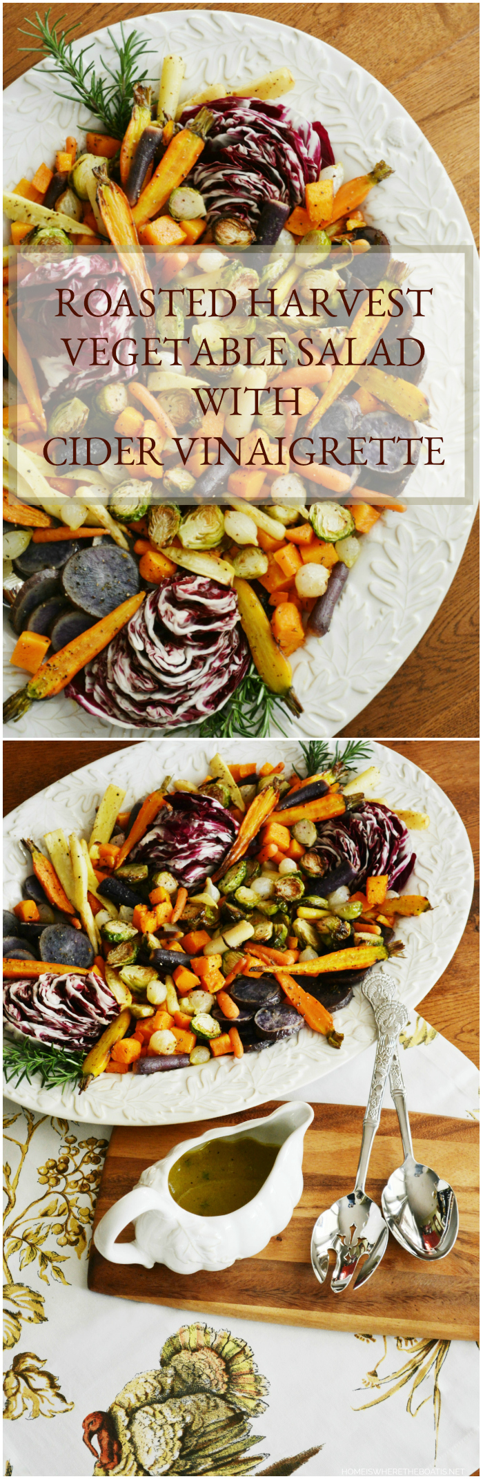Roasted Harvest Vegetable Salad with Apple Cider Vinaigrette, a healthy and flavorful addition to your Thanksgiving feast! | ©homeiswheretheboatis.net #healthy #sidedish #veggies #Thanksgiving