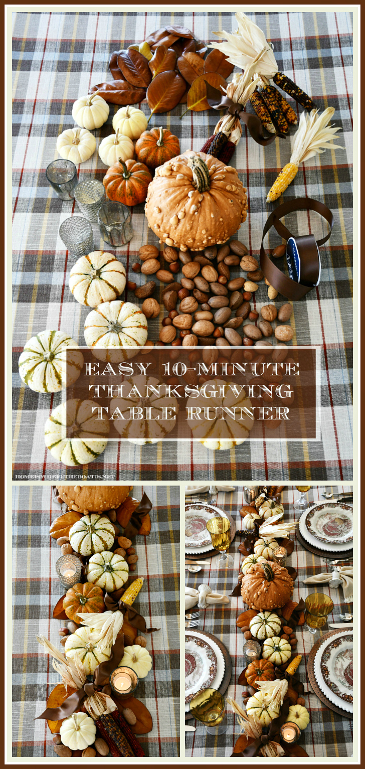 Easy DIY Harvest Runner for Thanksgiving | ©homeiswheretheboatis.net #thanksgiving #tablescapes #DIY