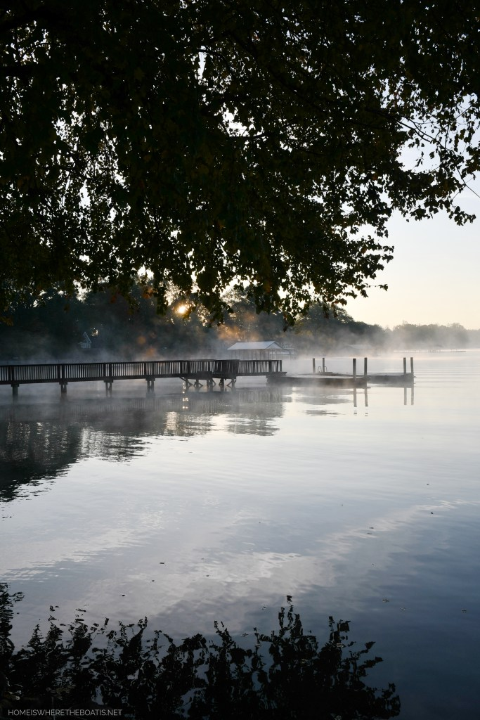 Weekend Waterview Steam fog Lake Norman | ©homeiswheretheboatis.net #fall #lake