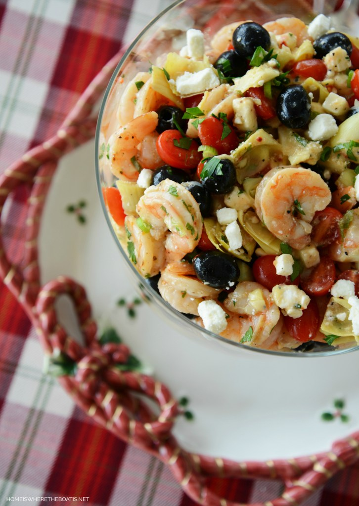 Marinated Shrimp and Artichokes | ©homeiswheretheboatis.net #party #recipe #easy #makeahead