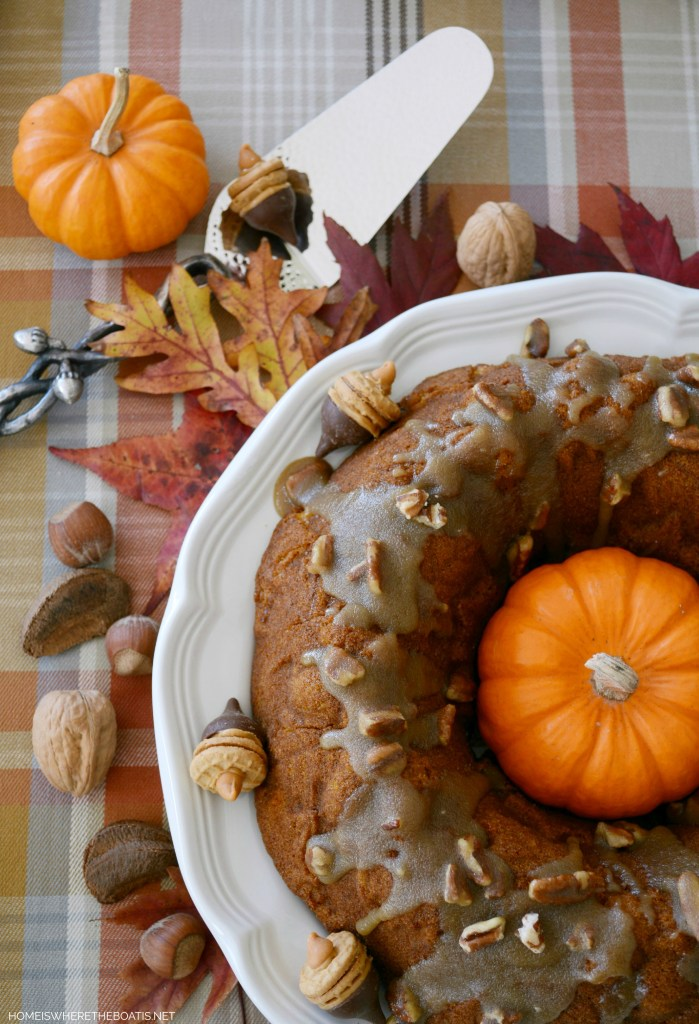 Pumpkin-Chocolate Harvest Cake with Bourbon-Pecan Glaze | ©homeiswheretheboatis.net #cake #bundt #pumpkin #bourbon #chocolate