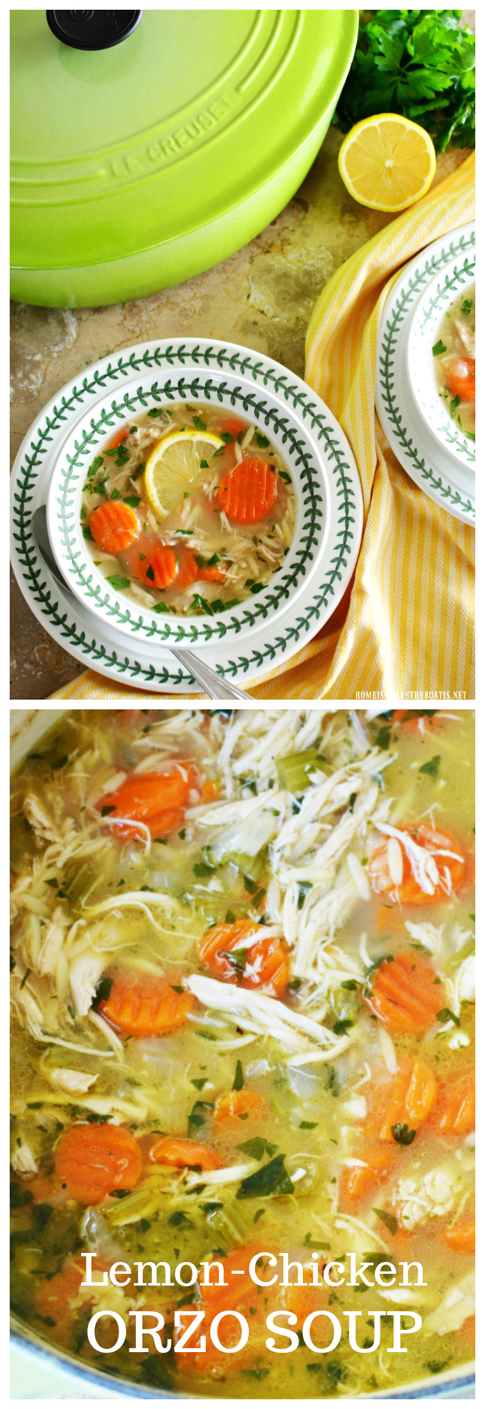 Favorite chicken soup for cold and flu season, Lemon Chicken Orzo Soup! | ©homeiswheretheboatis.net #recipes #soup #winter