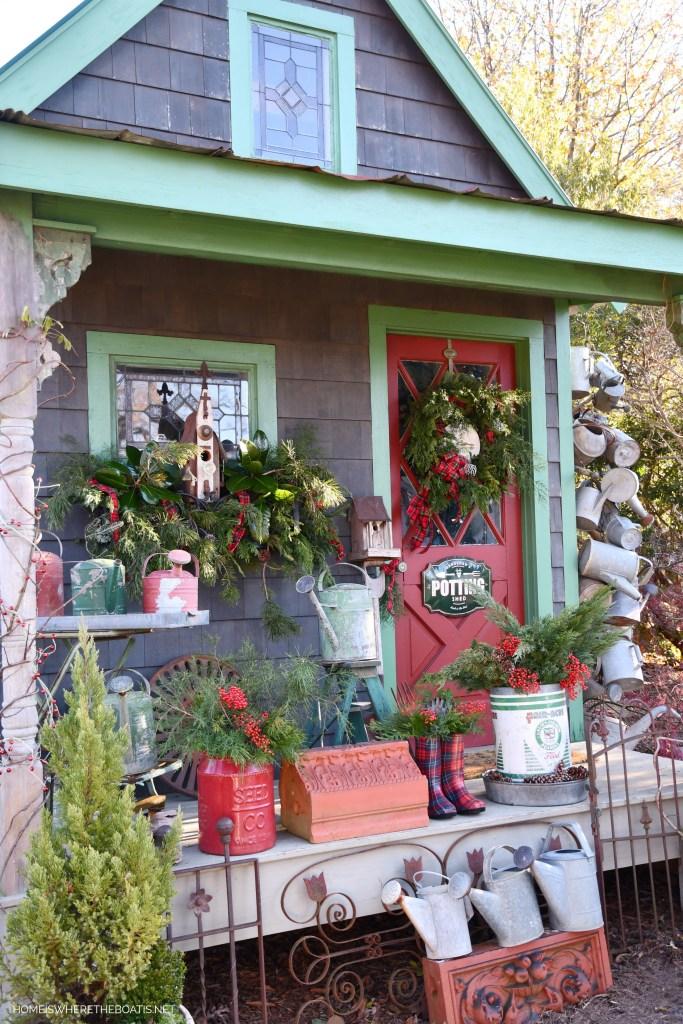 Christmas Around the Potting Shed | ©homeiswheretheboatis.net #shed #christmas #greenery