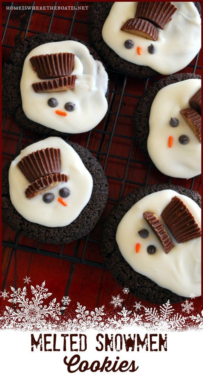 Melted Snowmen Cookies | ©homeiswheretheboatis.net #snowman #cookies