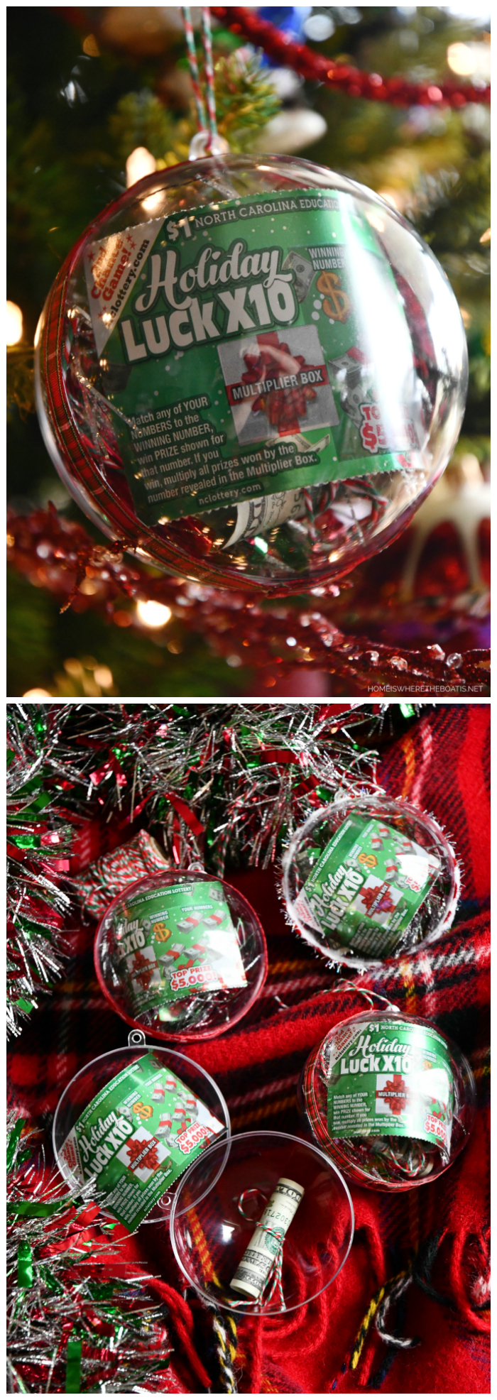 Easy and Festive Lottery Scratch Off Ornaments   ©homeiswheretheboatis.net #christmas #giftwrap #ornament #DIY