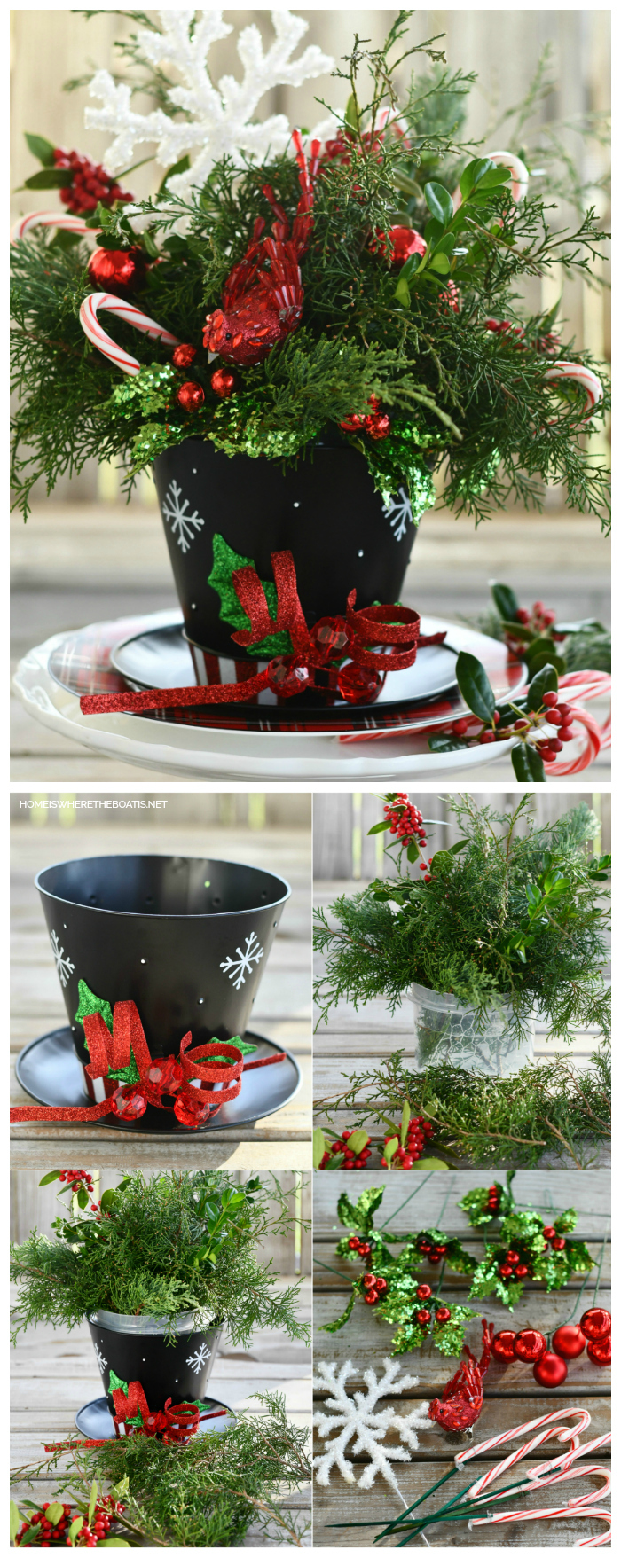 Top Hat Snowman Centerpiece DIY | ©homeiswheretheboatis.net #christmas #snowman #tablescape #DIY