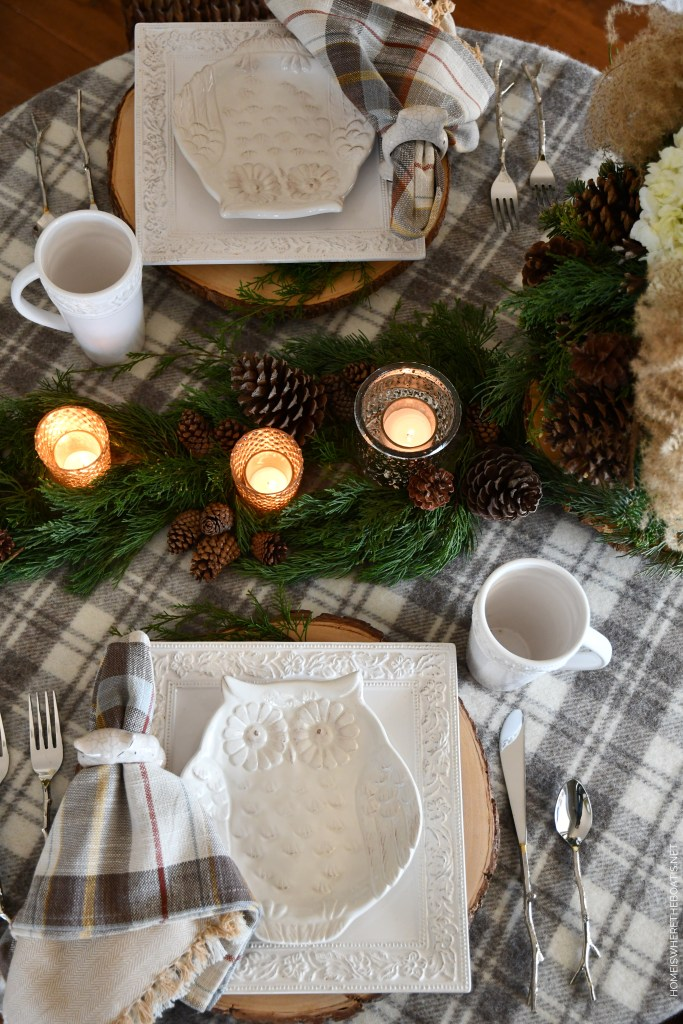 Winter Owl Table | ©homeiswheretheboatis.net #tablescapes #winter #owl #DIY