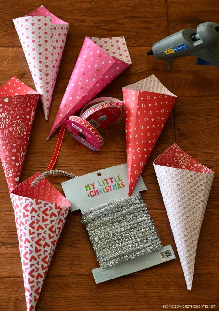 DIY Valentine Candy Cones using scrapbook paper   ©homeiswheretheboatis.net #craft #DIY #valentinesday