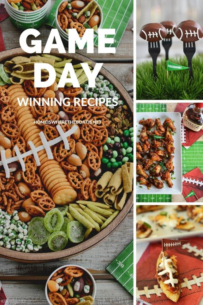 Enjoy this line up of Game Day recipes to kick off football season, for your next tailgate, or your Super Bowl Snacking! Recipes for Pigskin Potato Skins, Buffalo Chicken Pasta Salad, Slow Cooker Sweet & Sticky Wings, Buffalo Meatballs, Football Cake Pops and More. ©homeiswheretheboatis.net #football #recipes