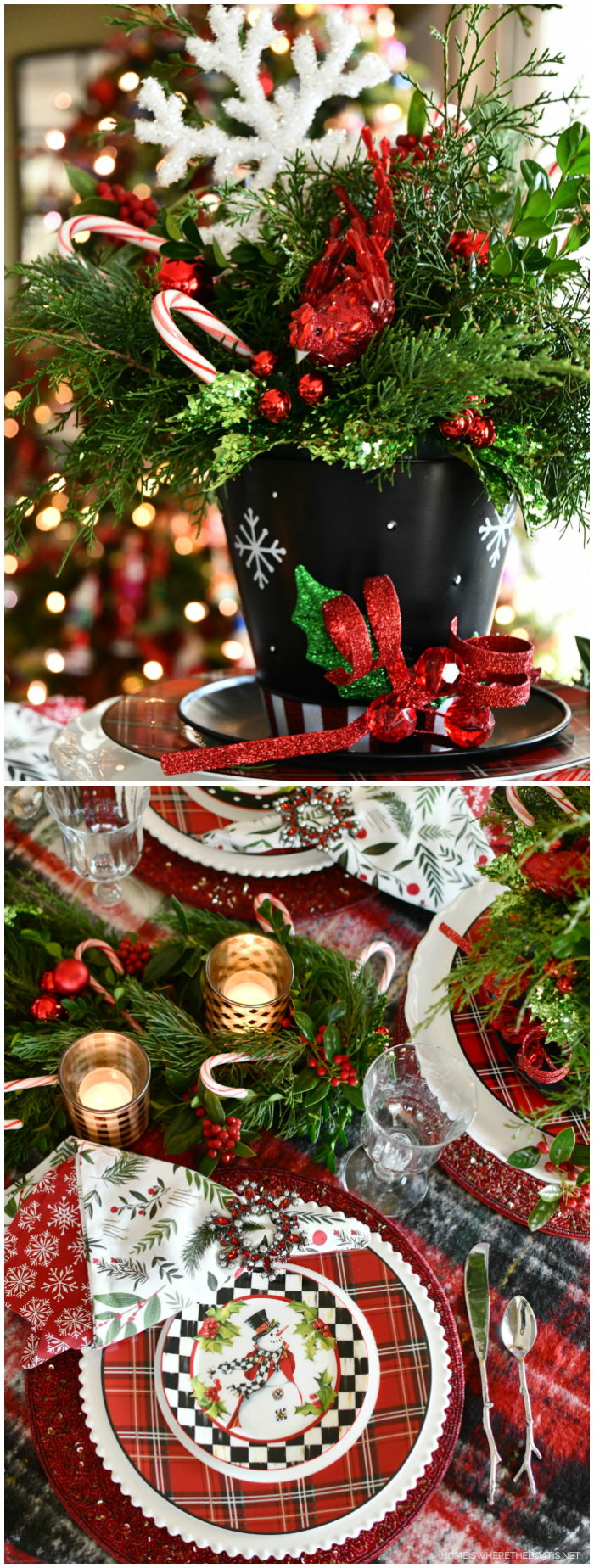Top Hat Snowman Centerpiece and Table | ©homeiswheretheboatis.net #christmas #snowman #tablescapes