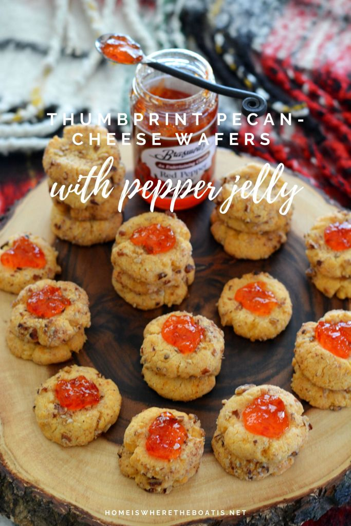 Thumbprint Pecan-Cheese Wafers with Pepper Jelly | ©homeiswheretheboatis.net #appetizer #cheesestraw #pecans #recipes #party