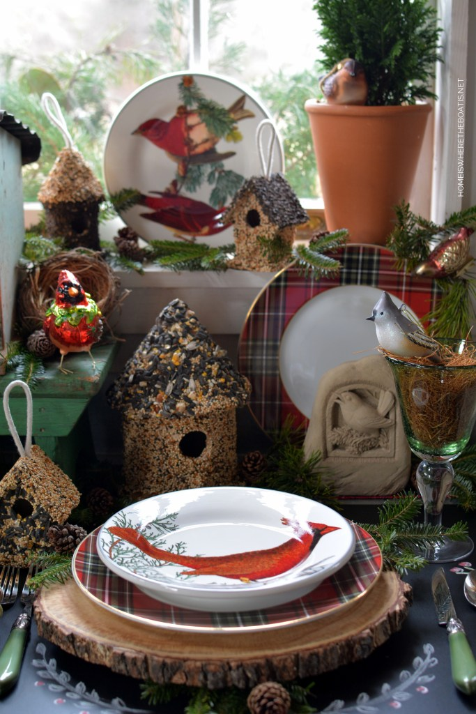 Winter nesting and woodland tablescape with birds in the Potting Shed with bird ornaments, birdhouses and winter fauna plates | ©homeiswheretheboatis.net #tablescapes #birds