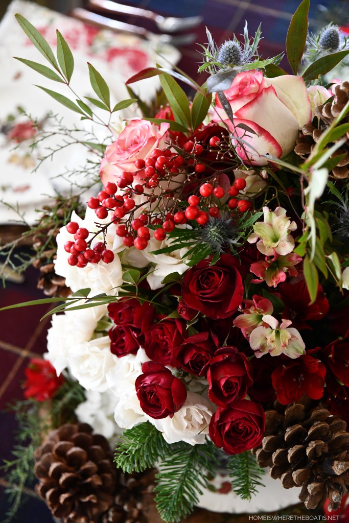 Midwinter Flowers and Tablescape   ©homeiswheretheboatis.net #winter #flowers #tablescape