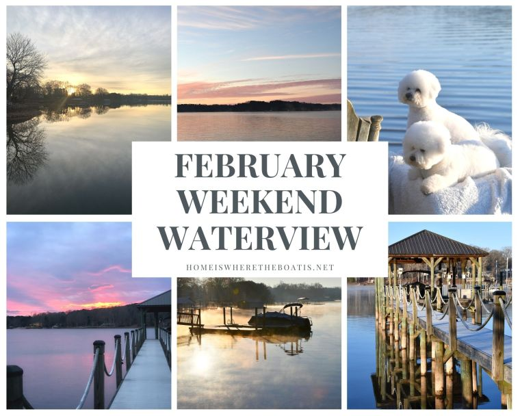 February Weekend Waterview | ©homeiswheretheboatis.net #lakenorman #dogs #sunset #bichonfrise #dock