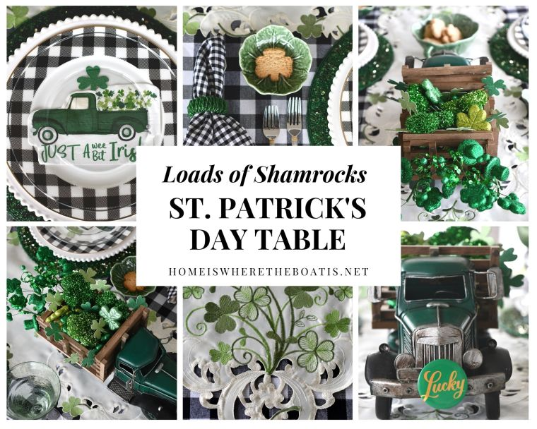 Loads of Shamrocks and St. Patrick's Day Tablescape | ©homeiswheretheboatis.net #stpatricksday #tablescapes