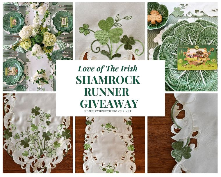 Love of The Irish Embroidered Irish Shamrock Table Runner + Giveaway | ©homeiswheretheboatis.net #stpatricksday #tablescapes