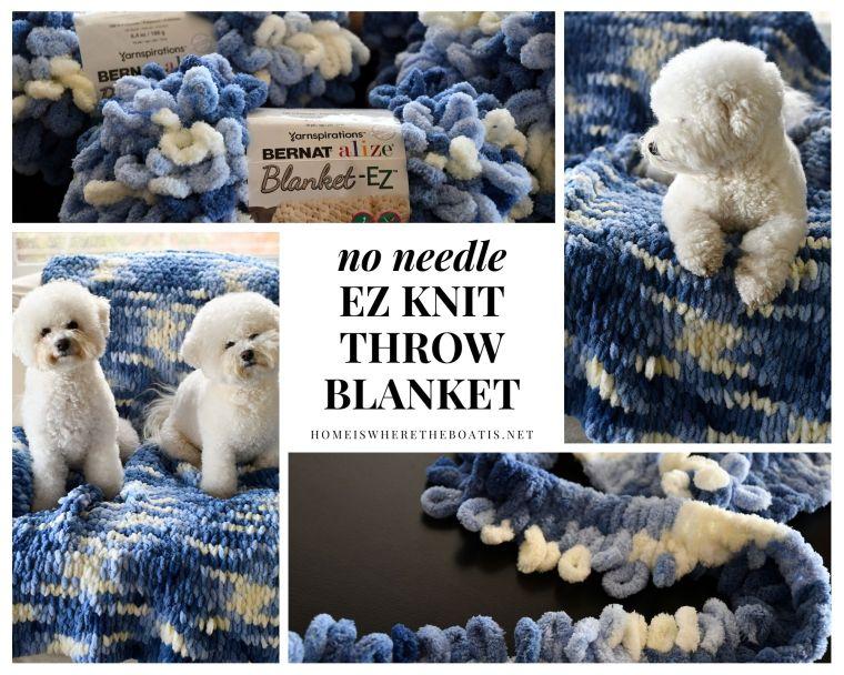 How to Make an EZ Loop Yarn Throw Blanket, no knitting needles required! | ©homeiswheretheboatis.net #DIY #craft #yarn #noknit #blanket