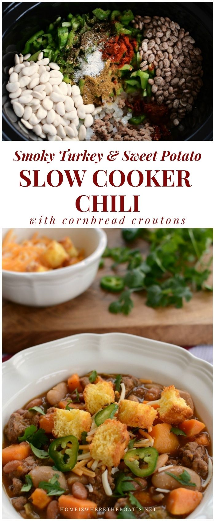 Smoky Turkey & Sweet Potato Slow Cooker Chili with cornbread croutons | ©homeiswheretheboatis.net #recipes #soup #chili #winter