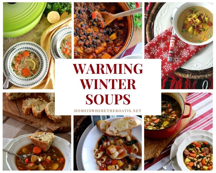 Warming Winter Soups and Cozy Comfort Food in Bowl | ©homeiswheretheboatis.net #soup #winter #chili #recipes